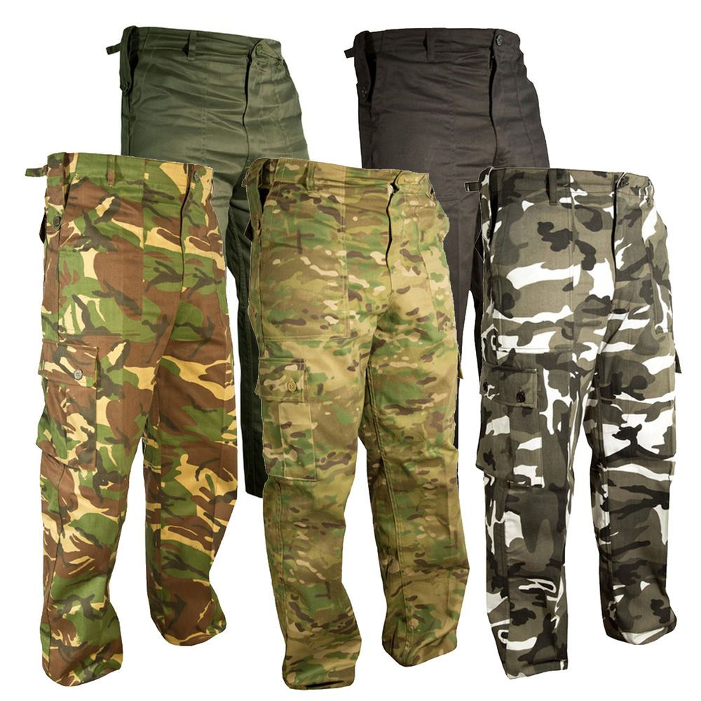 Mens Army Military Combat TrousersCamo Camouflage Pants Airsoft Work Black