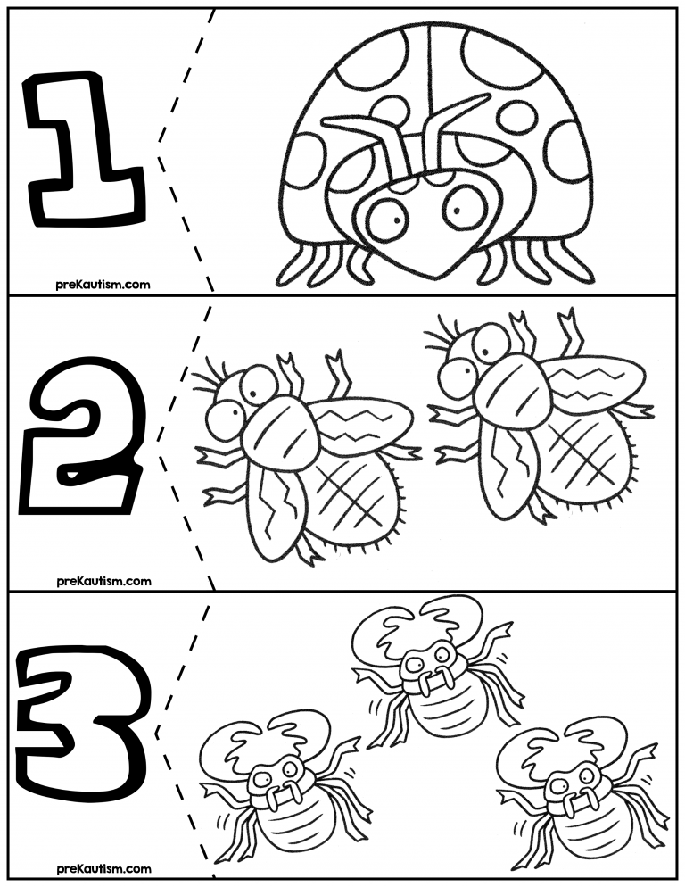 FREE Bugs Coloring Quantity Puzzles #\'s 1-6 | Pinterest