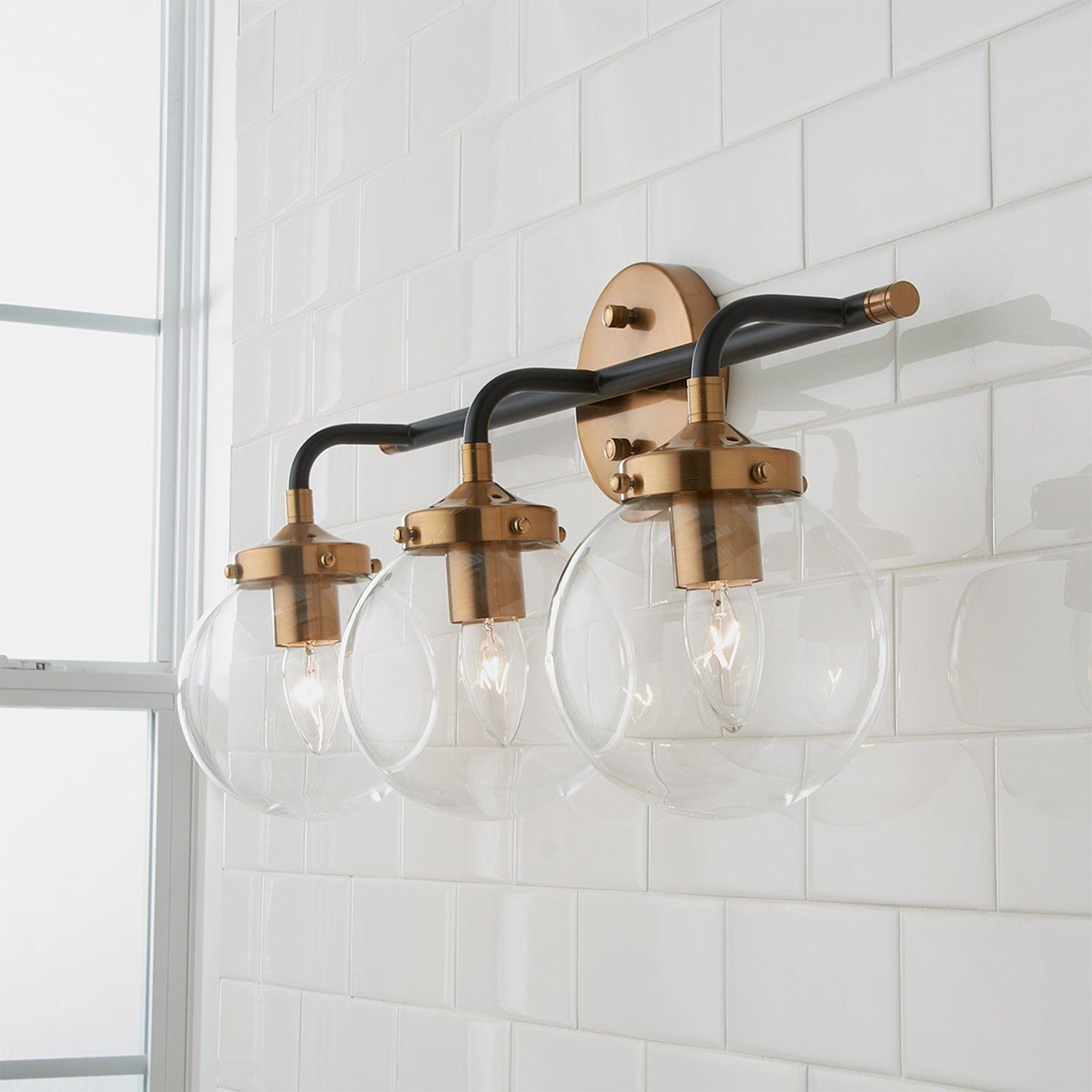 Boudreaux 3 Vanity In Matte Black Antique Gold In 2020 Modern Vanity Lighting Vanity Lighting Bathroom Light Fixtures