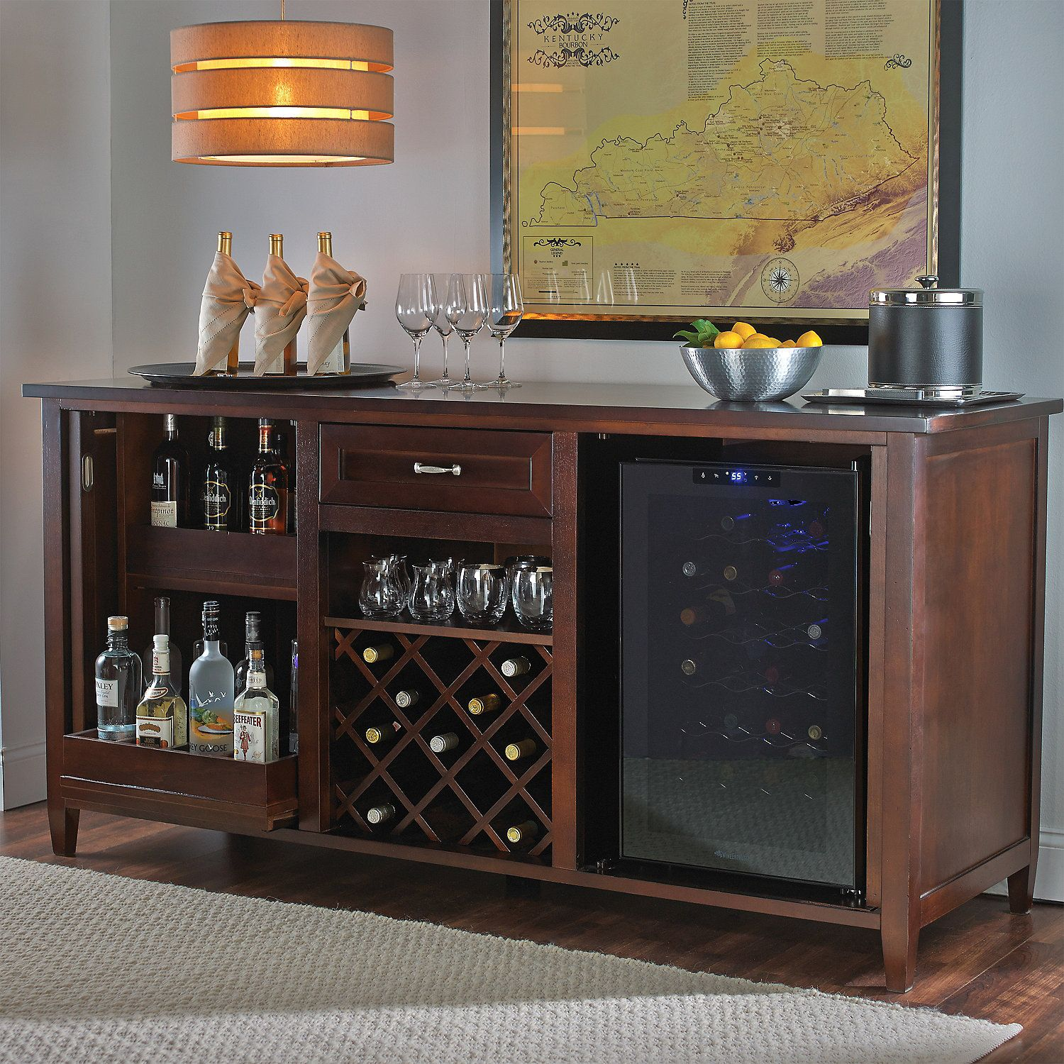 Firenze Wine and Spirits Credenza with 16 Bottle Touchscreen Wine ...