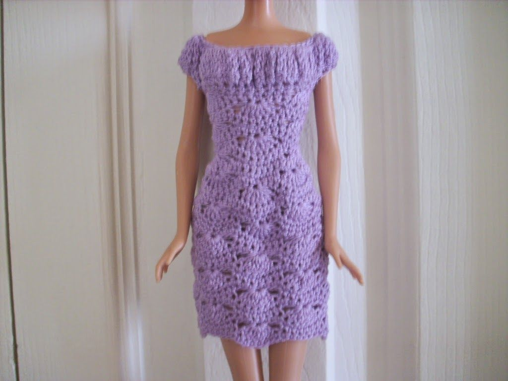 Crochet for Barbie (the belly button body type): Lilac Shell Dress ...