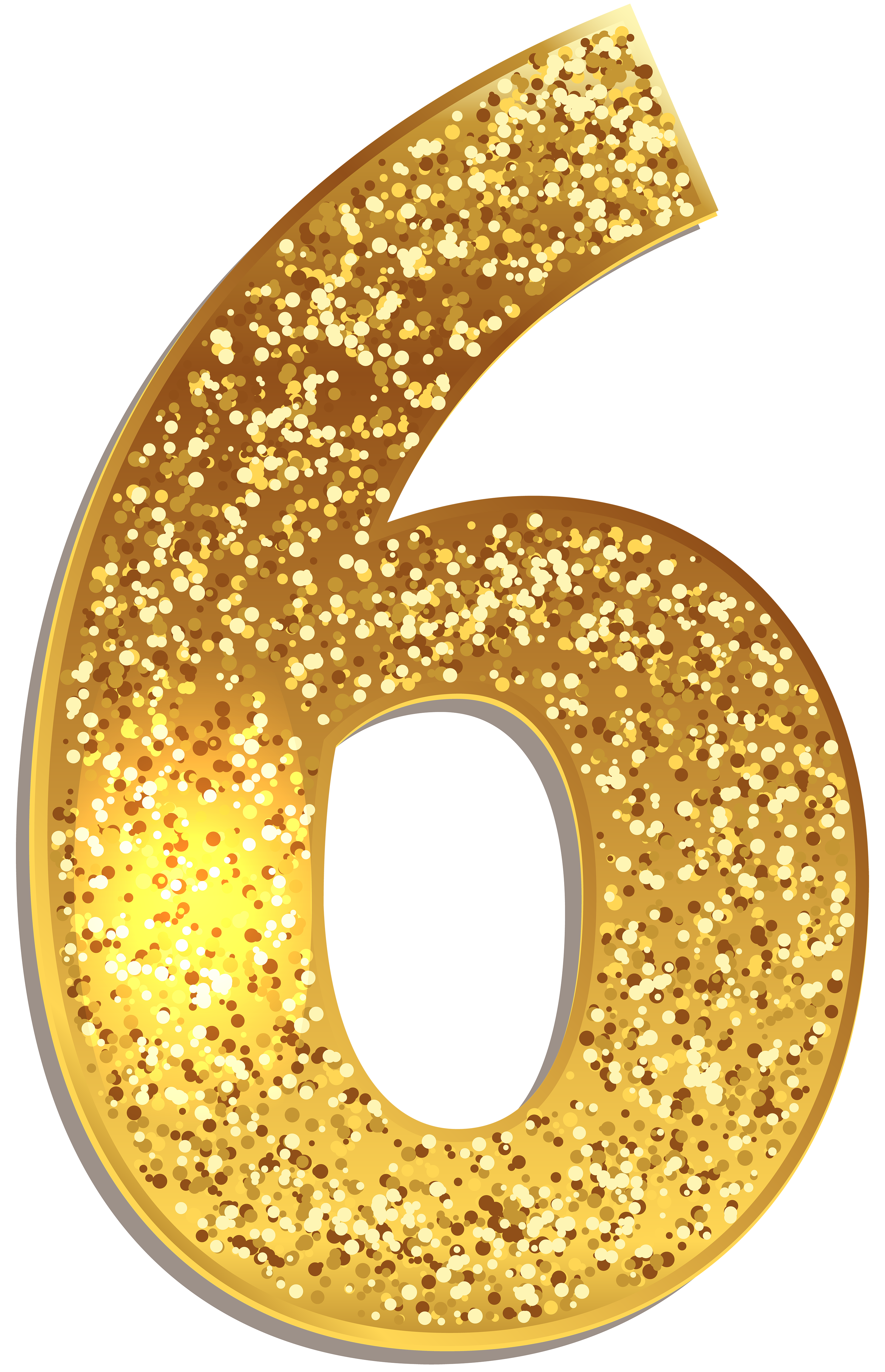 Number Six Gold Shining Clip Art Image