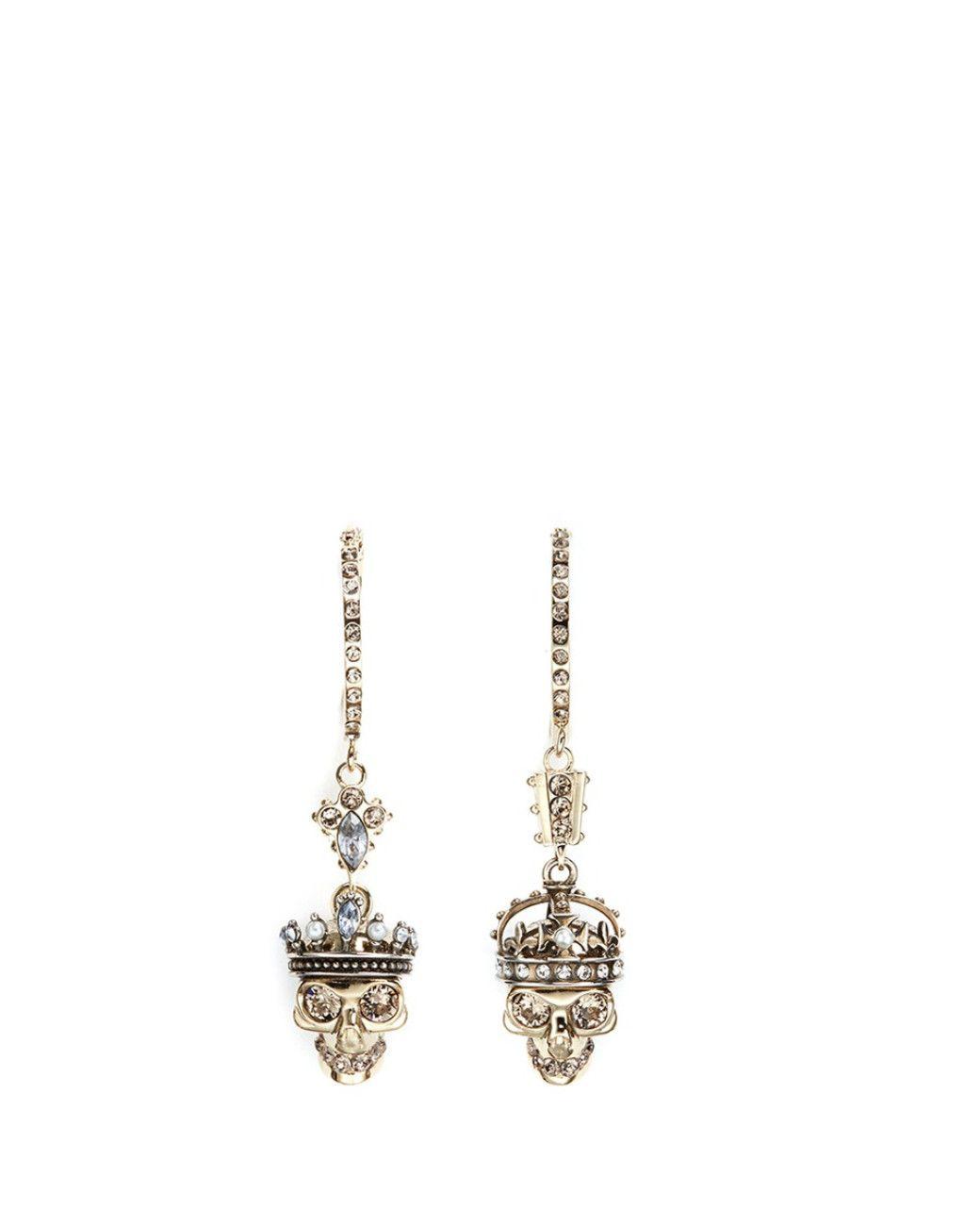 Women's Metallic 'kings & Queens' Swarovski Crystal Skull Earrings
