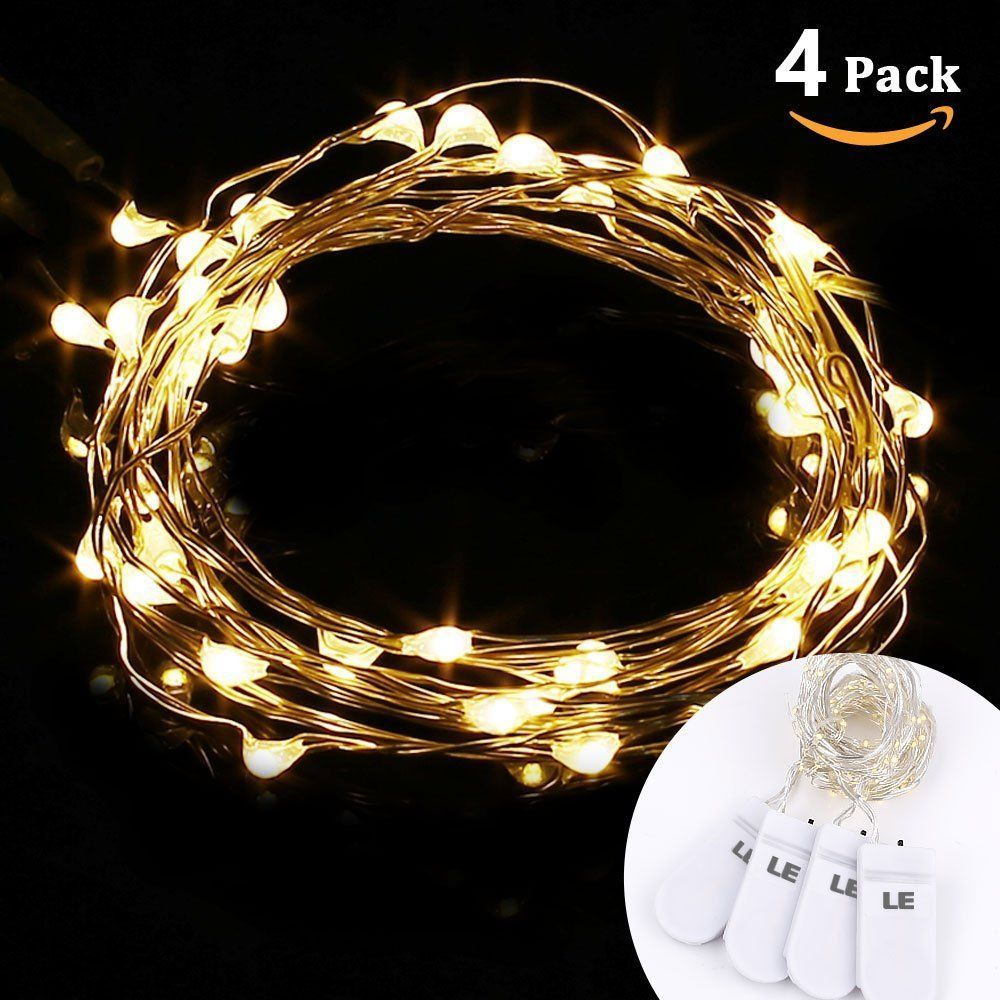 4 x Warm White 1M 3.3Ft Battery Powered 20 LED Copper Wire String ...