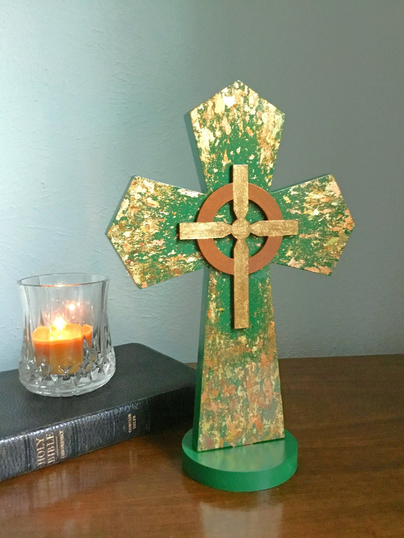 Celtic standing cross irish table cross layered cross