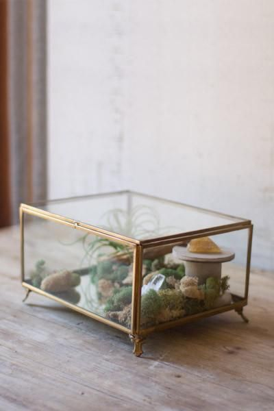 Kalalou Antique Brass Glass Box With Feet Products