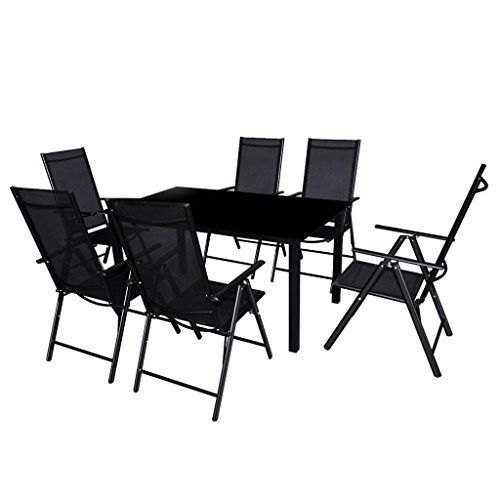 Folding Patio Set Folding Patio Dining Set 6 Chairs + Table Aluminium Black  #FoldingPatioSet