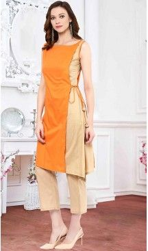 Straight Kurti Orange Color Cotton Thread Work Readymade Kurti