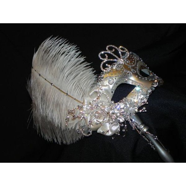 Reserved for Jsamendoza Silver, Hunter and Teal Masquerade Mask,... ($260) via Polyvore