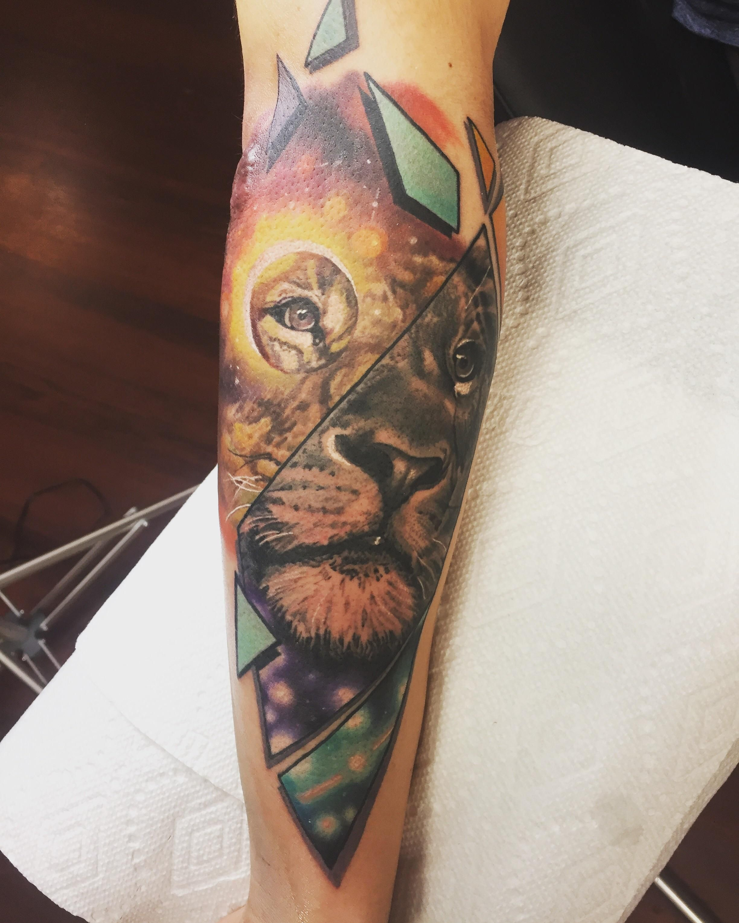 My First Large Tattoo Space Lion Done By Bobby Cupparo Inkology