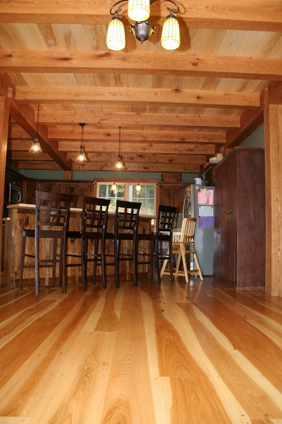 Wide Plank Hickory Flooring Over Radiant Heat In The Kitchen Of A