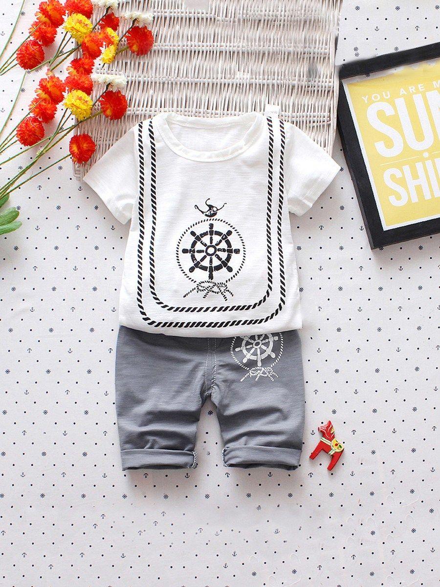 676781925248 Toddler Boys Rudder Print Tee With Pants -SheIn(Sheinside)