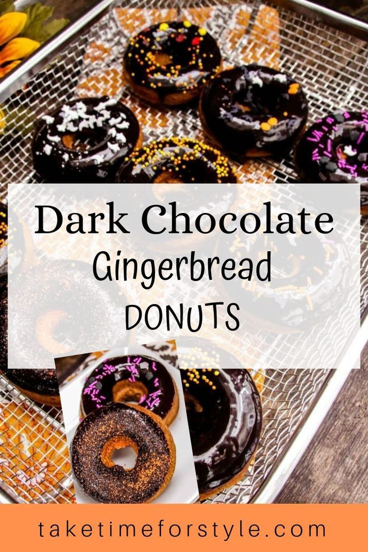 Dark Chocolate Gingerbread Donuts with Fall Sprinkles These easy to make donuts are perfect for Halloween or any fall party! And the simple dark chocolate glaze is so divine! The would make perfect fall classroom treats too!