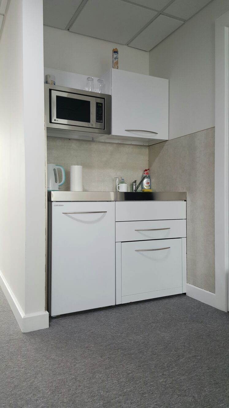 Great mini kitchen office installation for a busy workplace in London with integrated dishwasher