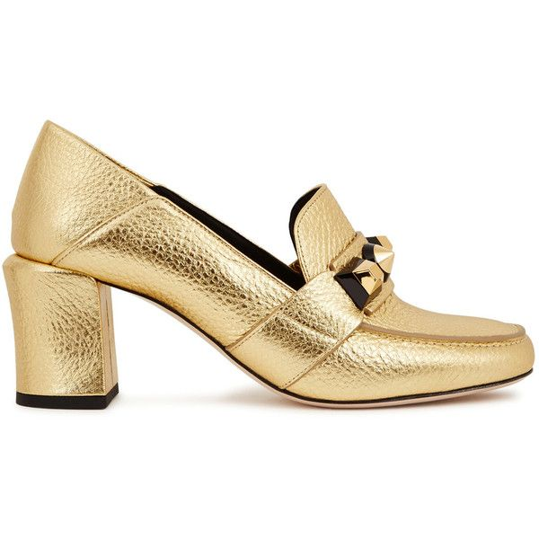 Fendi Gold leather loafers ($935