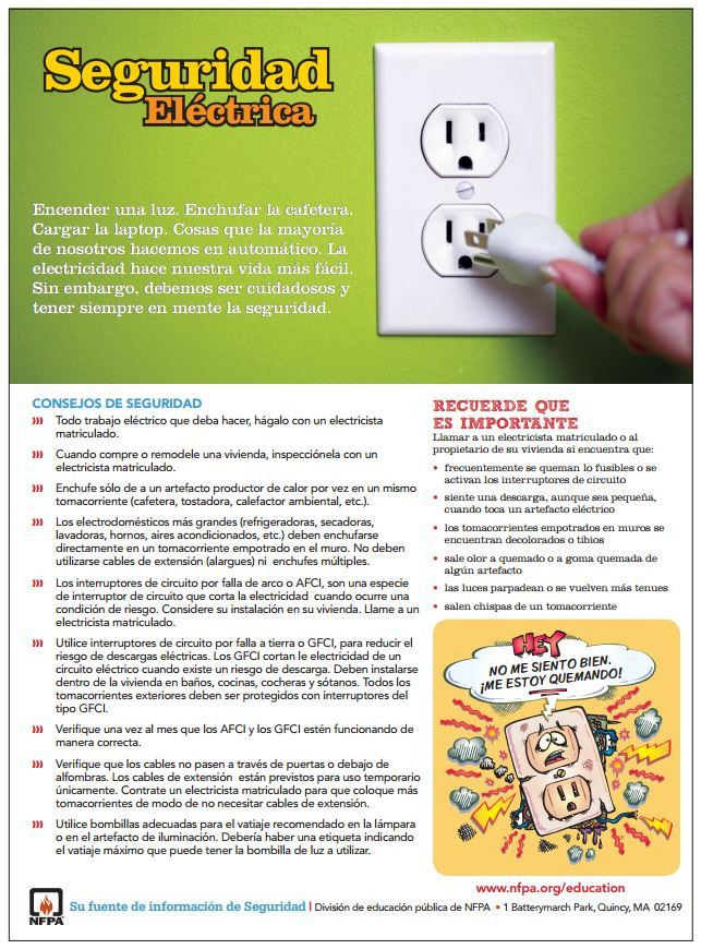 Electrical safety tip sheet in Spanish! Electrical