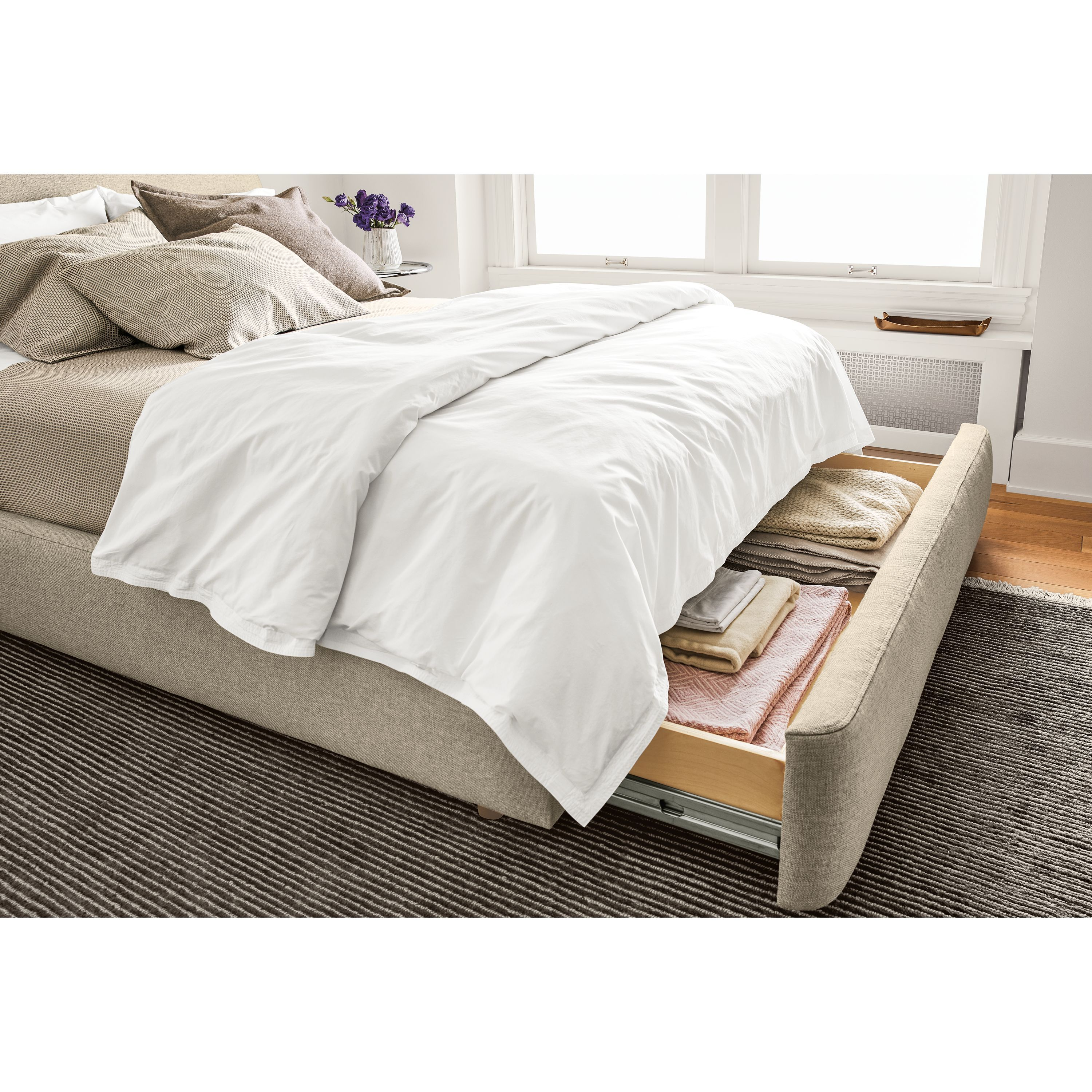 Percale Topstitch Duvet Cover King storage bed, Modern