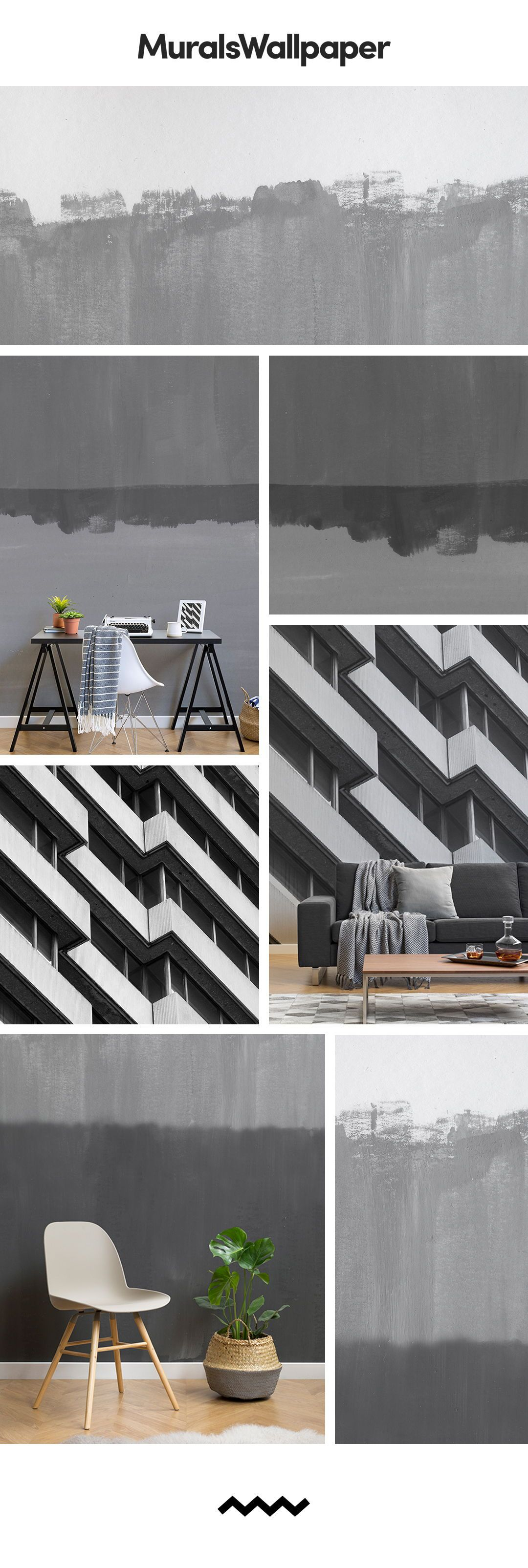 I nostri grigio murali della carta da parati a righe