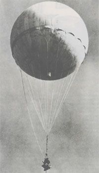 "Japanese Fire Balloons float over Mainland USA:  One of the most unusual military actions of World War II came in the form of Japanese balloon bombs, or ""Fugos,"" directed at the mainland United States. Starting in 1944, the Japanese military constructed and launched over 9,000 high-altitude balloons, each loaded with nearly 50 pounds of explosives rigged to deploy into cities or create Forrest fires. 350 made it to 15 US States including Michigan and Iowa."
