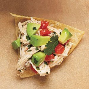 Avocado Chicken Salad will tortilla chips for scooping!  Yum!!!