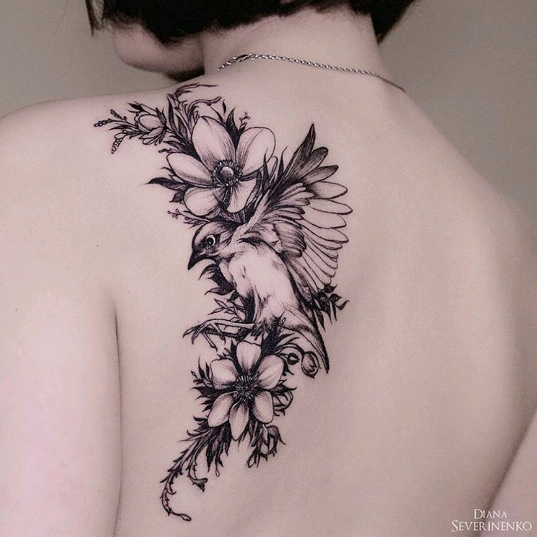 By Dianaseverinenko Flower Bird Floral Blackwork Tattoos