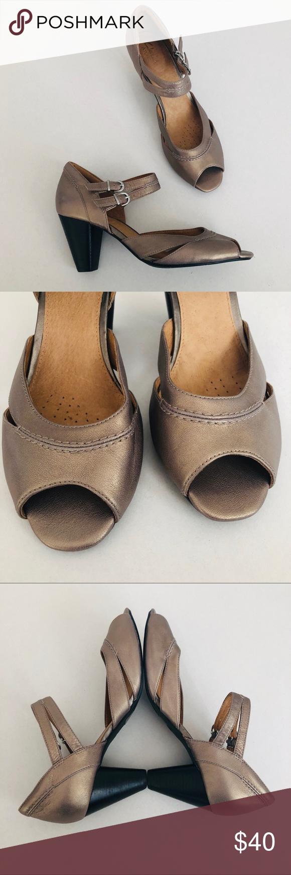 Active Air Metallic Peep-toe Heels