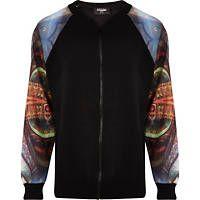 Black Jaded London print sleeve bomber jacket