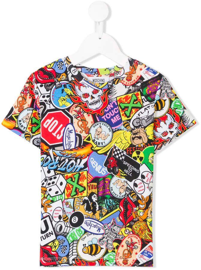 c1cfabd29 Moschino Kids patchwork print T-shirt   Girls Clothing in 2019 ...