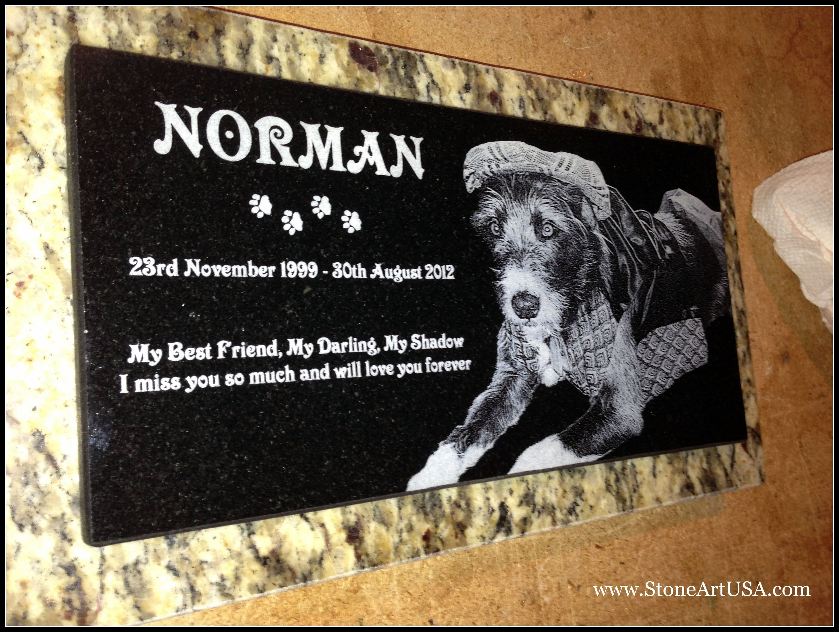 New Ideas for Pet Grave Stones ... Custom made memorial stones & cremation urns for pets. The granite is laser etched with your pet's photo and your words. Markers will stay beautiful for generations in the yard or cemetery. Memorial stones can be made for people too as well as for our beloved dogs, cats & all pets. See more at www.StoneArtUSA.com Let me know if you have any questions, Eric @ StoneArtUSA