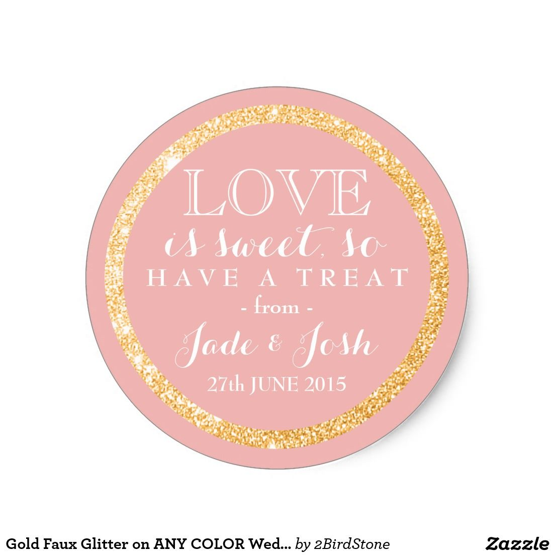Gold Faux Glitter on ANY COLOR Wedding Favor Label | Wedding favor ...