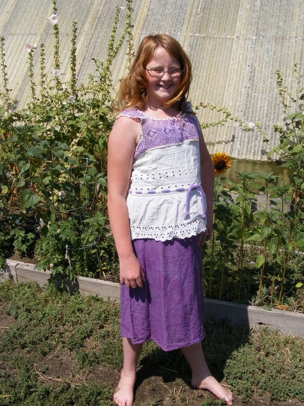 Faith in repurposed Lace top with purple hand dyed  skirt