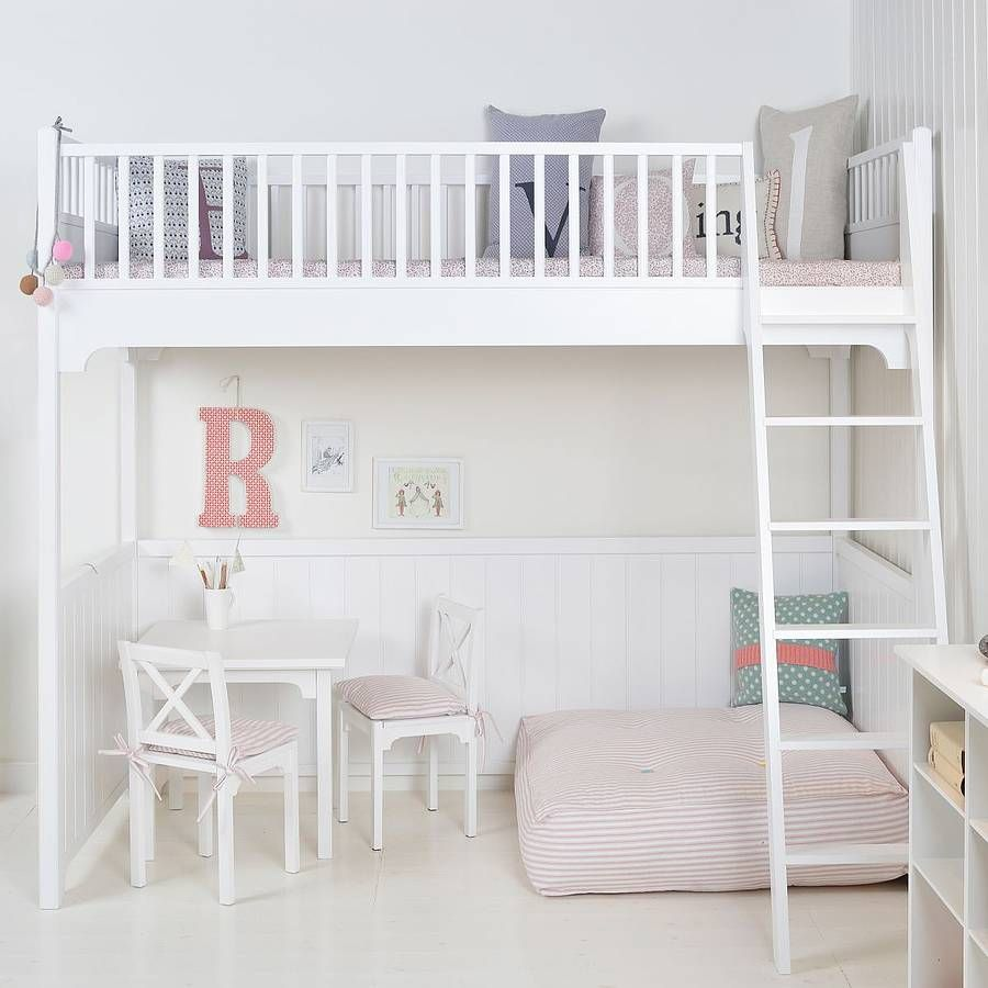 Elegant White Scandinavian Loft Bed
