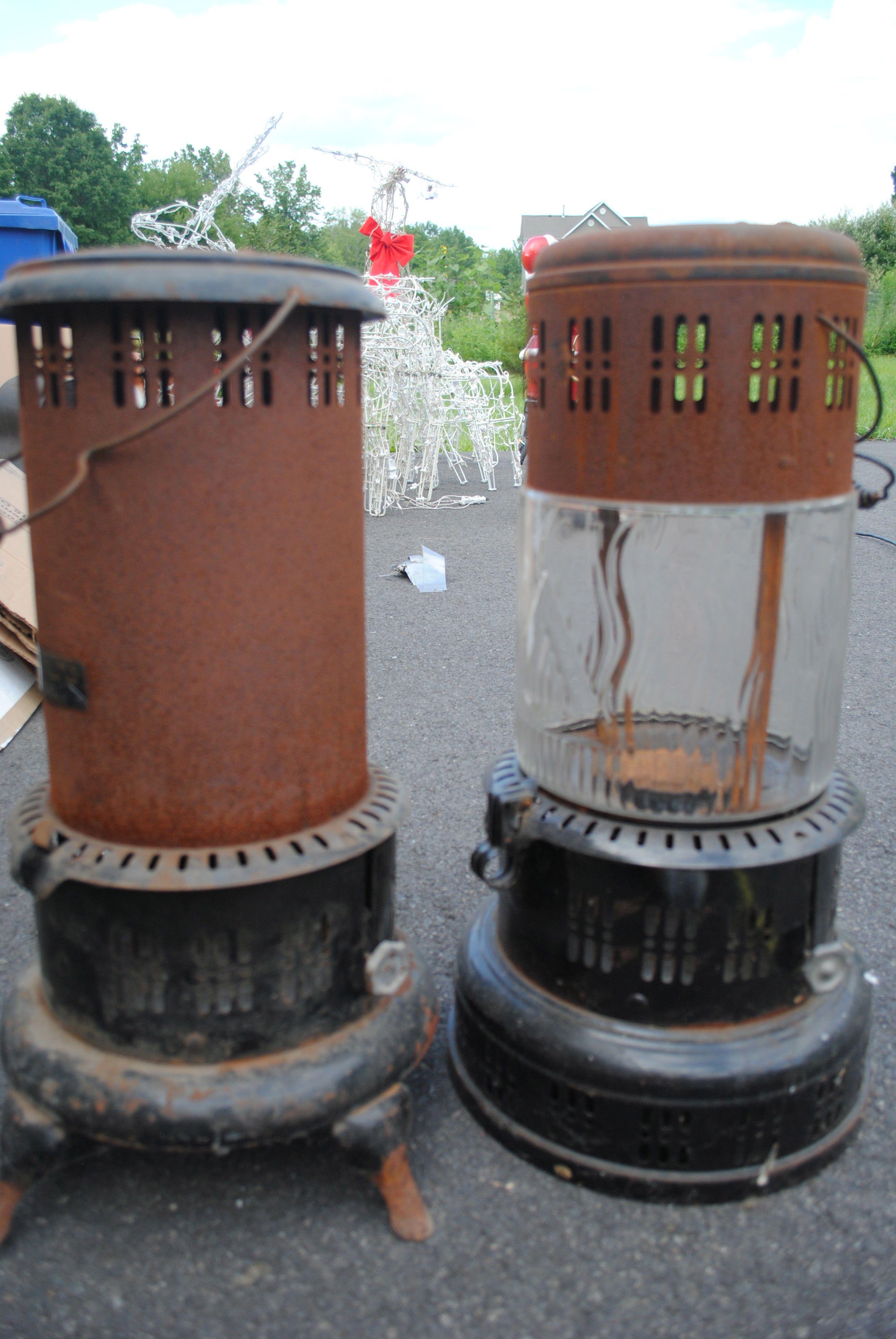 2 vintage kerosene heaters, both 24