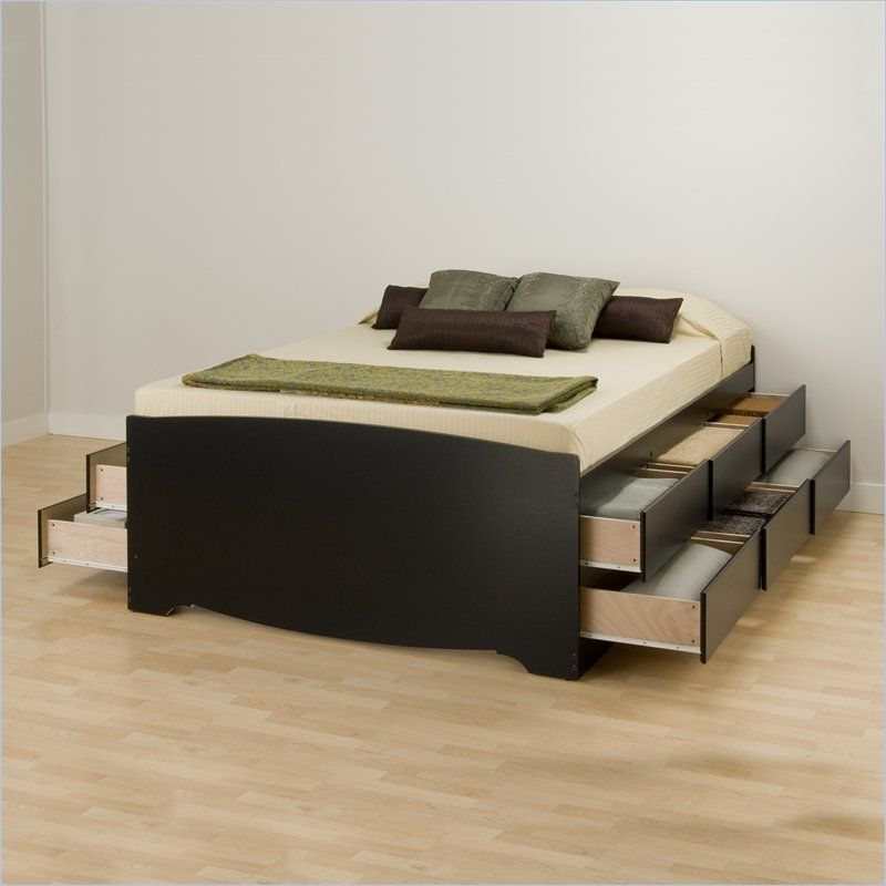 Prepac Sonoma Queen Platform Storage Bed 6 Piece Bedroom Set In Black Bbq 6212