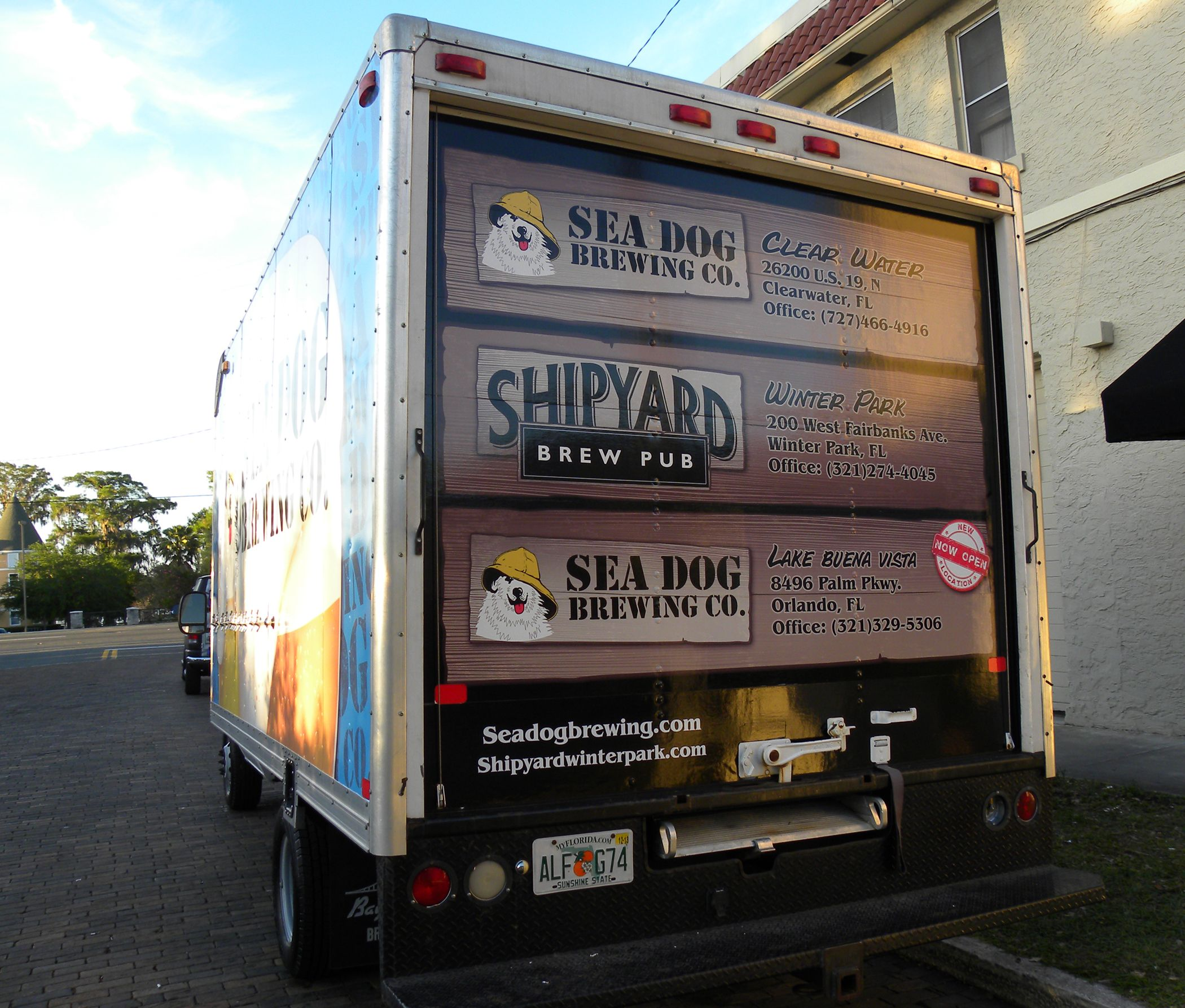 Rear Roll Up Door On Ford Box Truck Fully Wrapped Hittn Skins Roll Up Doors Brew Pub Car Wrap