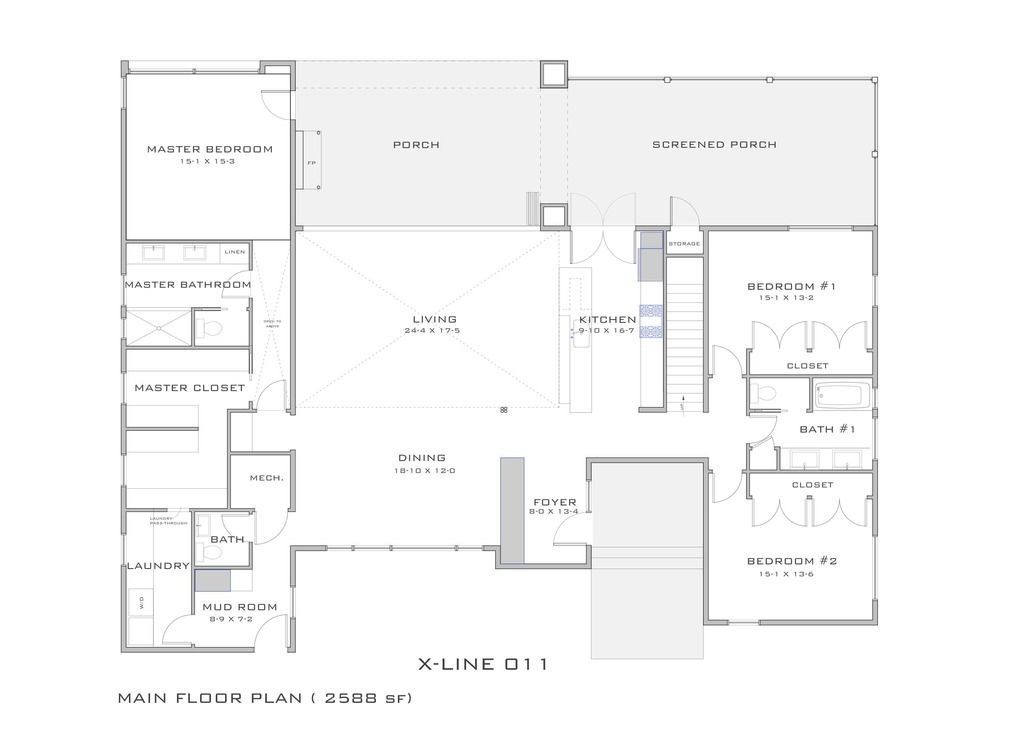 Modern Style House Plan - 4 Beds 3 Baths 2922 Sq/Ft Plan #909-4 Main