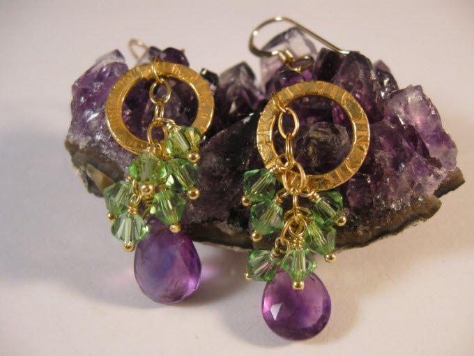 Amethyst Crystal Gold Hoop Earrings - gemstone earrings, cluster earrings, gold earrings, gold hoop earrings, crystal earrings. $38.50, via Etsy.