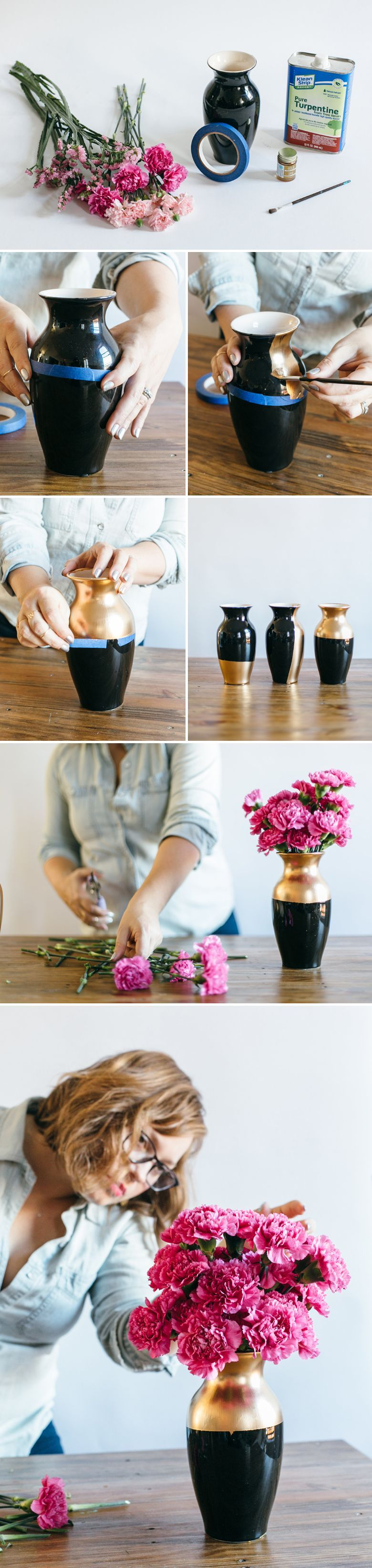 Diy wedding centerpieces gilded gold vases cheapest flowers
