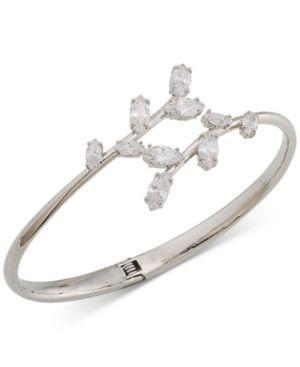 Carolee Silver-Tone Crystal Hinged Bangle Bracelet - Silver