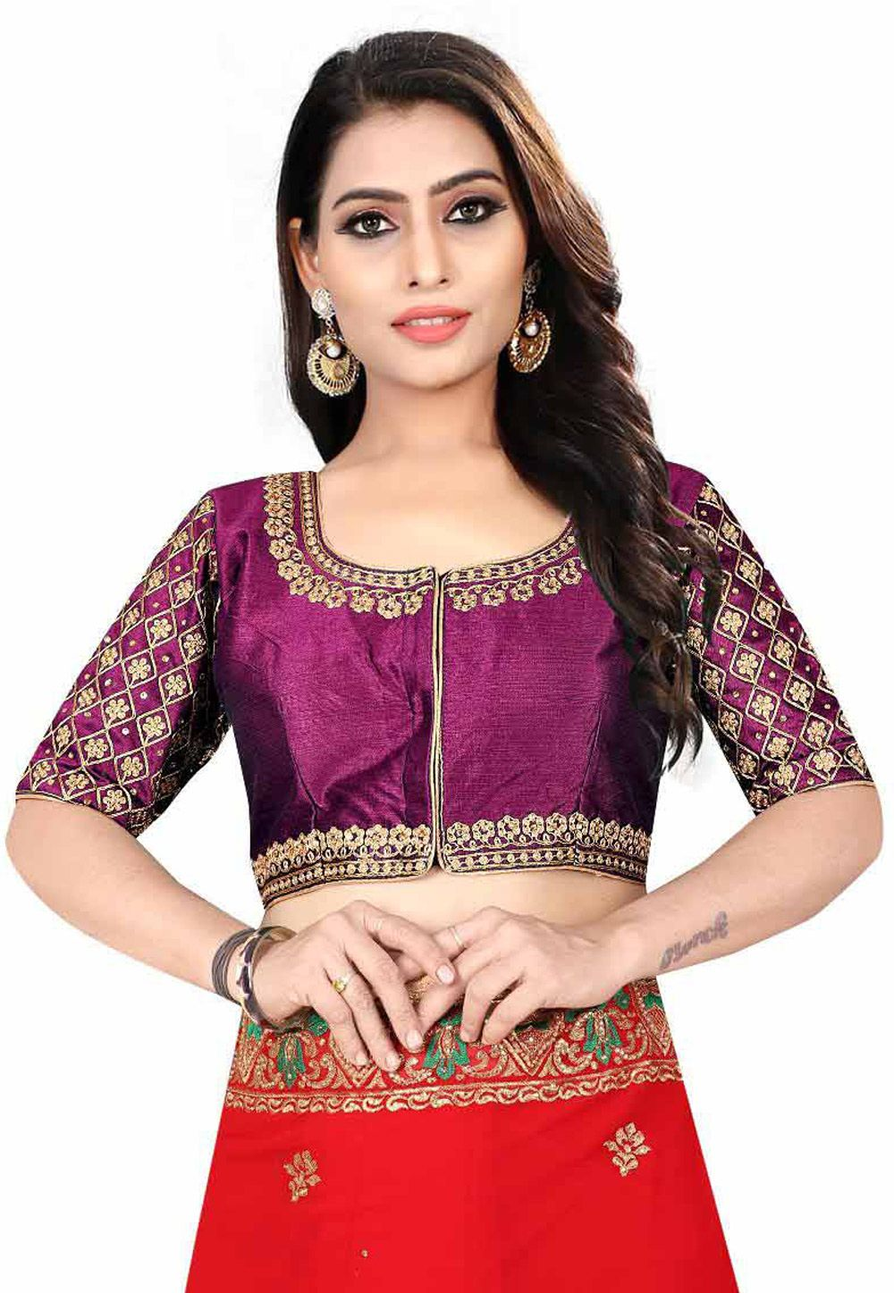1e2c952e7f Buy Purple Silk Readymade Blouse 155943 online at lowest price from vast  collection at Indianclothstore.com.