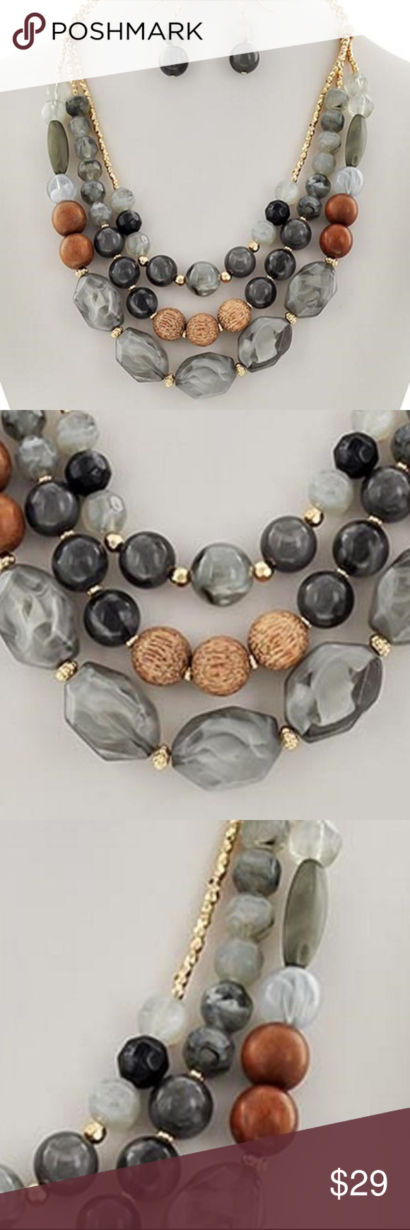 Three Layers Multi Brown Lucite Bead Gold Tone Bead Necklace Earring Set