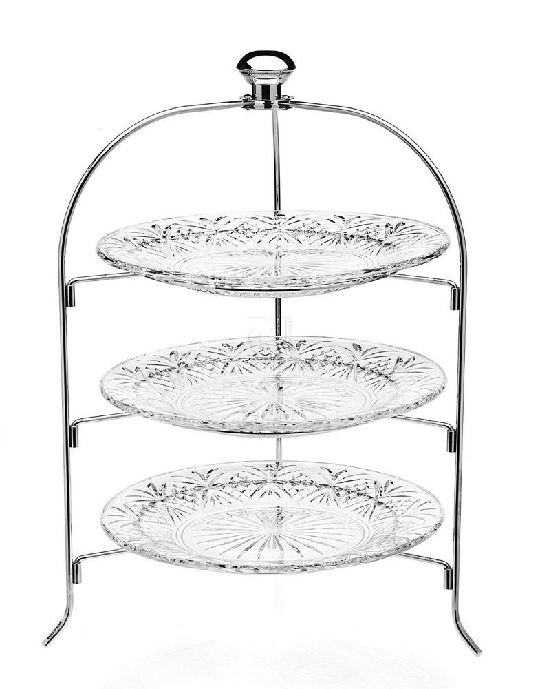 3 Tier Step Server Dublin Lead Crystal Gorgeous Silver Glass Design Metal Stand