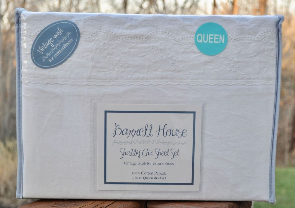 Barrett House Shabby Chic White Embroidered Cutwork Lace Queen Sheet Set Cottage Barretthouse Shabby Chic Wallpaper Shabby Chic Pillows Shabby Chic Painting