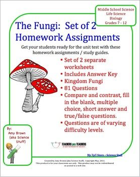 fungi homework set of 2 worksheets worksheets ideas resources rh pinterest com
