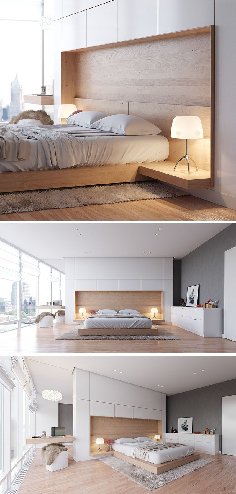 Bedroom design idea combine your bed and side table into one also rh co pinterest