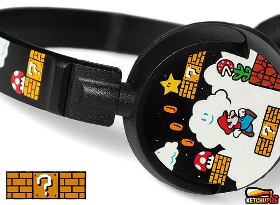 8169a7e90e0 Mario custom headphones painted geek birthday gift for girlfriend ...