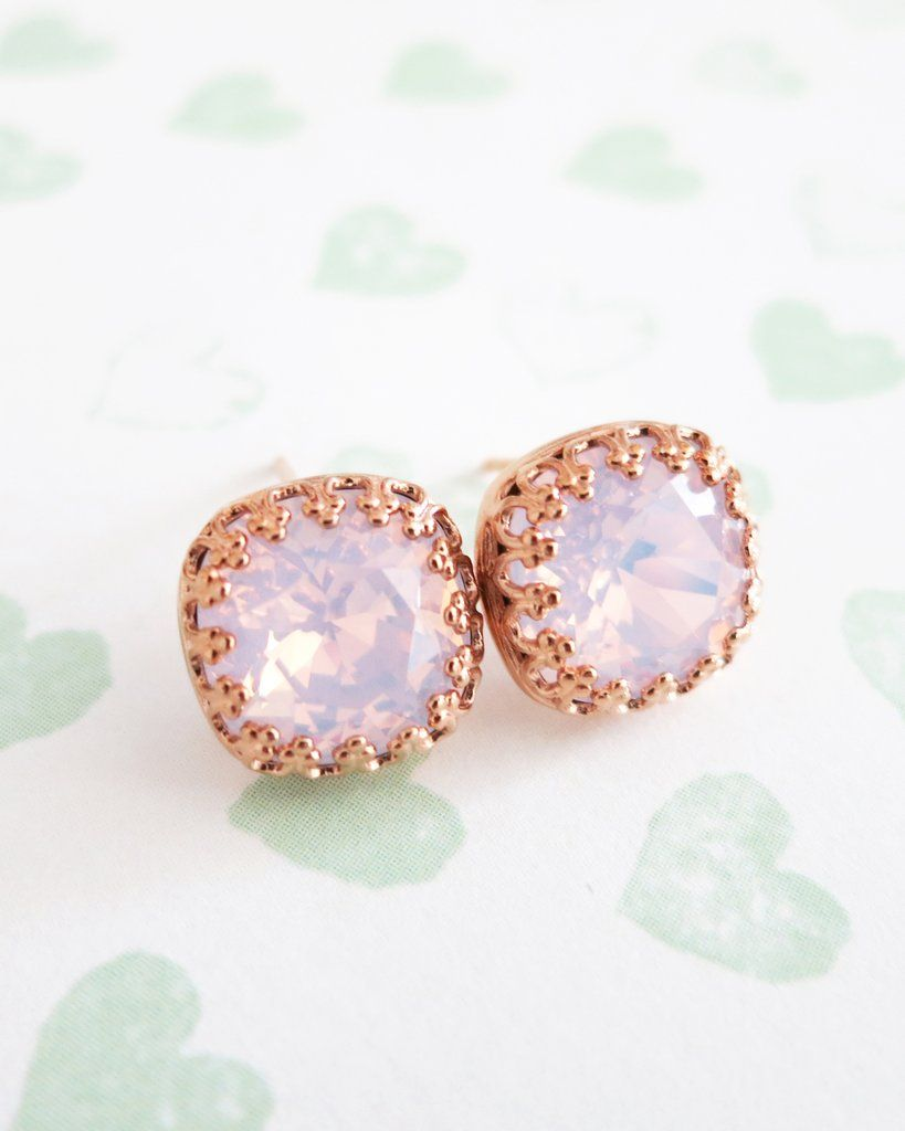 8e1ca2225 Rose Water Pink Swarovski Crystal Rose Gold Ear Studs, Swarovski crystal,  rose gold jewelry, bridal shower gifts, brides and bridesmaid earrings, ...