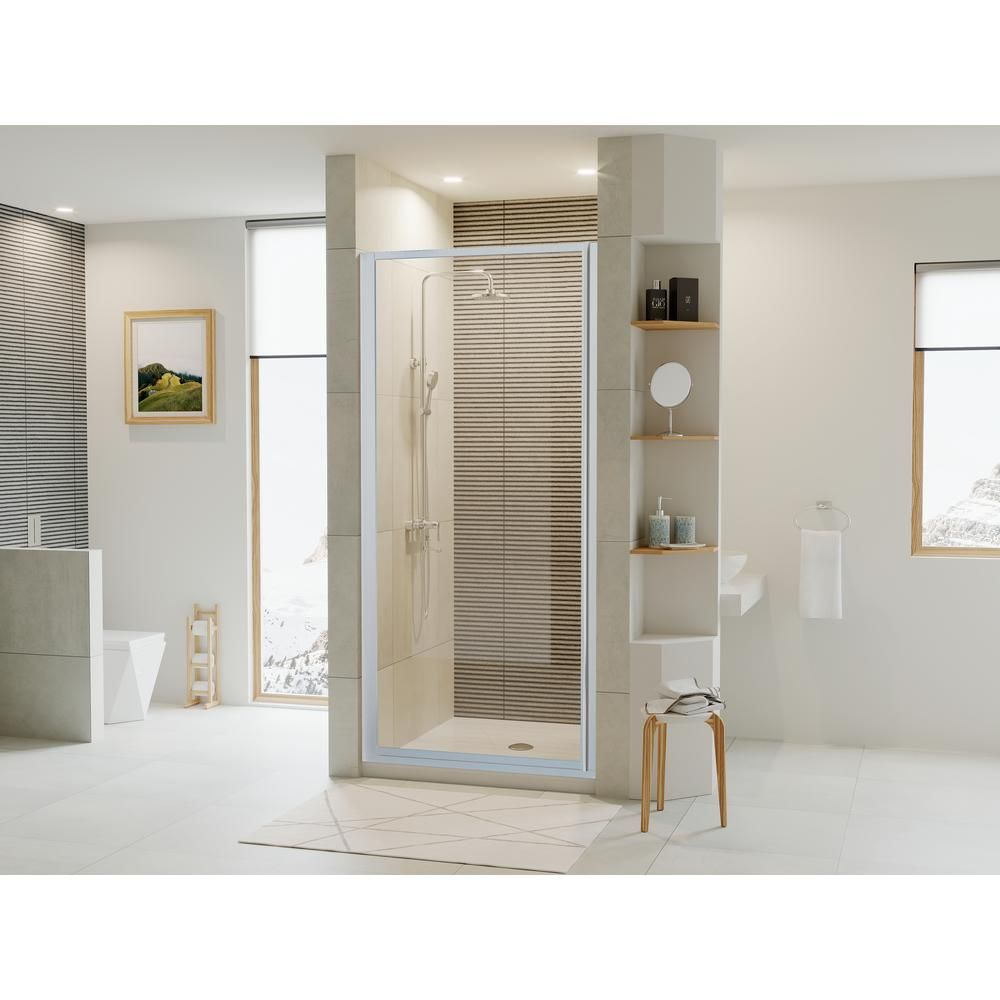 Coastal Shower Doors Legend Series 22 In X 64 In Framed Hinged Shower Door In Platinum With Clear Glass Coastal Shower Doors Shower Doors Framed Shower Door