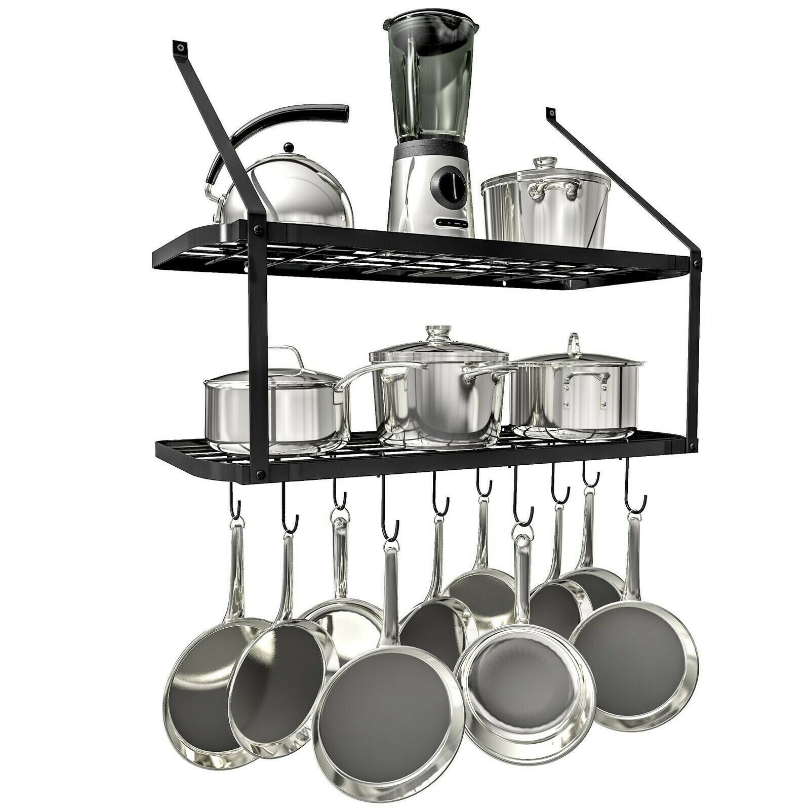 2 Tire Shelf Pot Rack Wall Mounted Pan Hanging Racks With 10 Hooks Black Pot Racks Ideas Of Pot Racks Pot Racks Pot Rack Hanging Pot Rack Hanging Pots