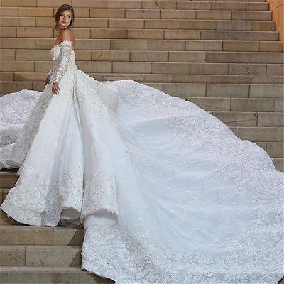 Gorgeous Long Sleeve Wedding Dresses 3M Cathedral Train Bridal Gowns ...